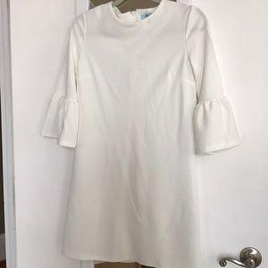 White mid bell sleeve dress